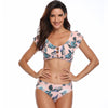 Green Plant Printed Tight Swimsuit
