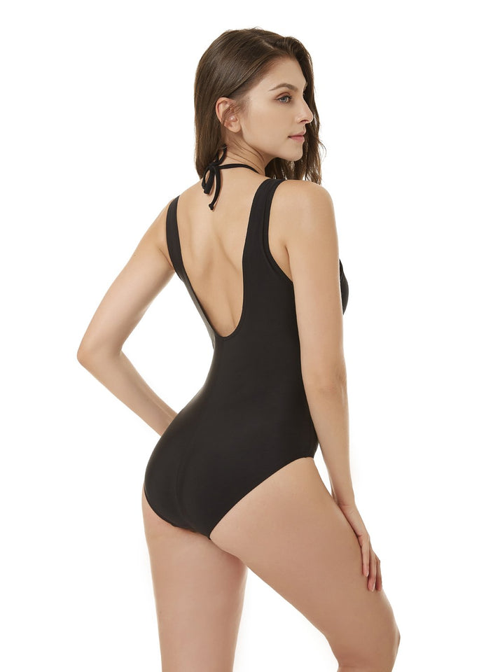 Black Off Shoulder String Halter One Piece Bathing Suit