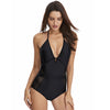 Classic Deep V Mesh Halter One Piece Swimsuit