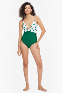 Green and White Polka Dot One-Piece Swimsuit
