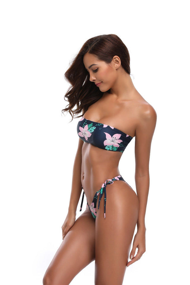 Black Floral Push Up Bandeau Bikini
