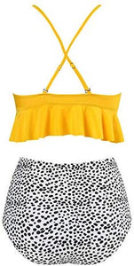 RUUHEE Women Scalloped Bikini Polka Dot Flounce Two Piece High Cut Bathing Suits