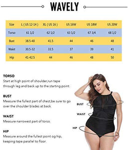 Wavely Women Plus Size Swimwear Two Piece Ruffle Flounce Off Shoulder Swimsuits with High Waisted Print Bikini Bottoms (L(US 12-14), Floral 1)