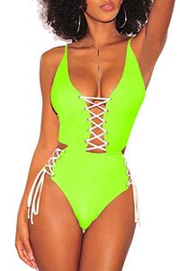 Almaree Women's Spaghetti Strap Criss Cross Lace Up One Piece Swimsuits Swimwear at Amazon Women's Clothing store