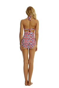 Red Striped High Waist Bikinis Set