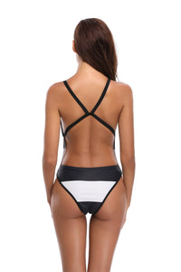 Sling Backless Black & White Color One Piece Swimwear