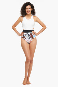 Side Cutout Floral One-Piece Swimsuit