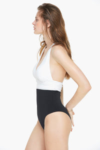 Two Tone Color Block One-piece Swimsuit