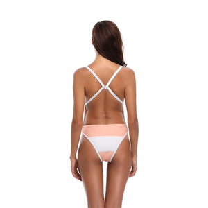 Pink and White Push Up One Pieces Swimming Bikinis