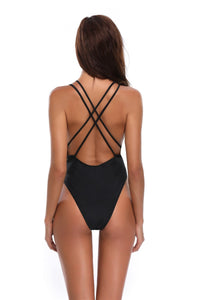 Black Push Up Two Shoulder Straps One Piece Swimsuit