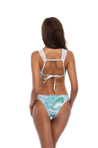 Green Leaf Print Mesh One-Piece Swimsuit