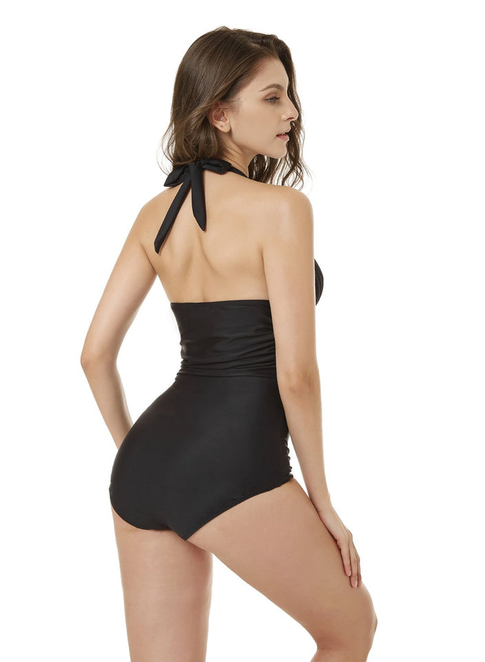 Black One Piece Swimsuit with Push-Up Padded Bra