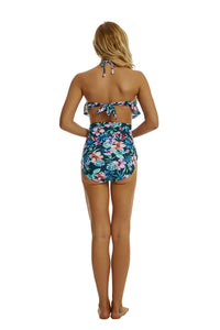 Blue Floral Print High Waist Beach Wear