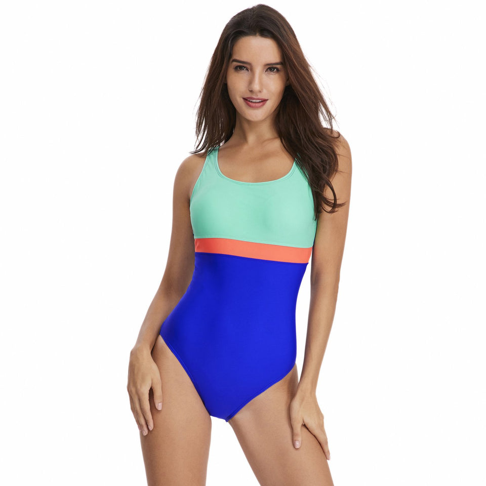 Sexy Female Triangle Movement Striped Swimming Suit