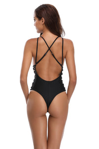 Black Sexy Cross Large Backless Swimsuit