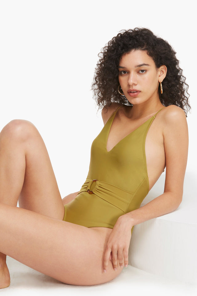 Belted Mustard Yellow One Piece Swimsuit