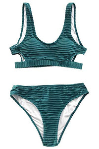 CUPSHE Women's Emerald Velvet Solid Backless Bikini with Cutout at Amazon Women's Clothing store