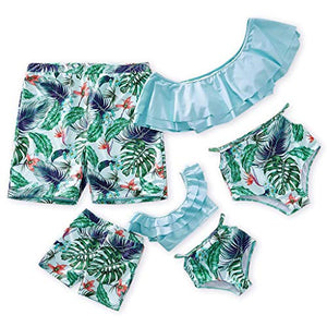 Yaffi Family Matching Swimwear Two Pieces Bikini Set 2019 Newest Printed Ruffles Mommy and Me Bathing Suits