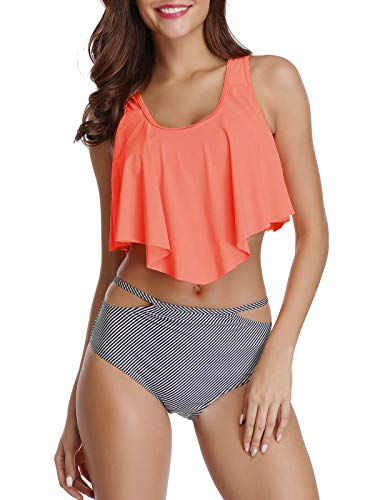 American Trends Women Swimsuits Bikini Two Piece Tankini Top High Waisted Bathing Suits