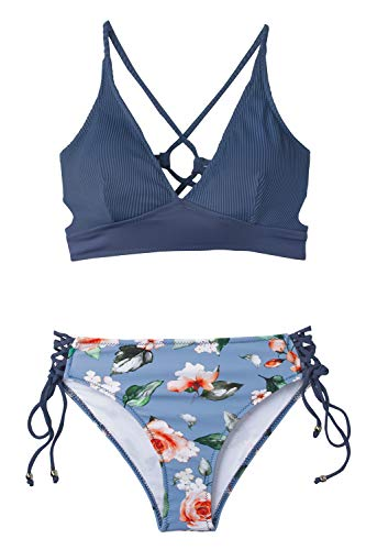 CUPSHE Women's Blue Floral V Neck Lace Up Bikini