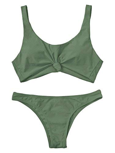 ZAFUL Women's Bathing Suit Scoop Knotted High Cut Bikini Set Wide Straps Swimsuit