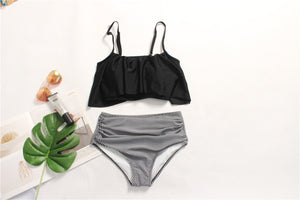 High Waist Black Push Up Two Piece Wave Ruffles swimwear