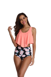 Two Piece Tankini with Ruffled Top and High Waisted Bottoms