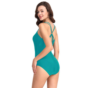 High Stretchy Criss Cross Shoulder strap One-piece Swimsuit