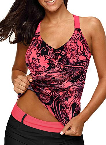 Aleumdr Womens Printed Strappy Racerback Tankini Swim Top No Bottom S - XXXL