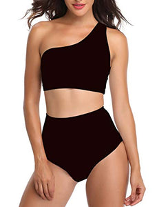 NAFLEAP Women One Shoulder Push Up Swimsuits High Waist Bikini Set 2 Pieces Bathing Suits
