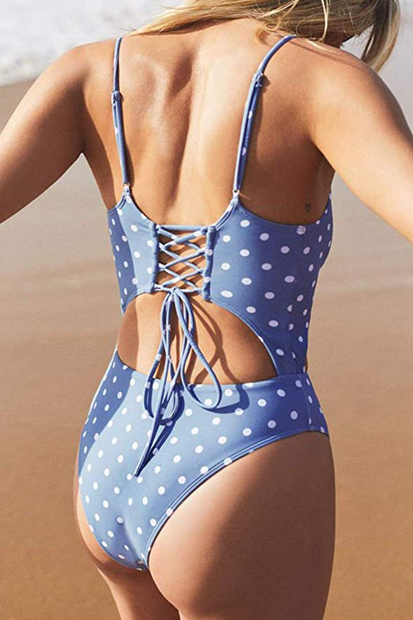 Meyeeka Womens Scoop Neck Cut Out Front Lace Up Back High Cut Monokini One Piece Swimsuit