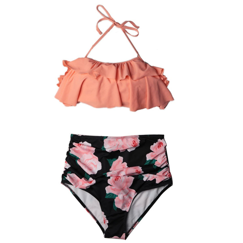 Pink High Waist Push-Up Bikini Set