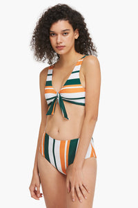 Front-knot Striped Bikini Set