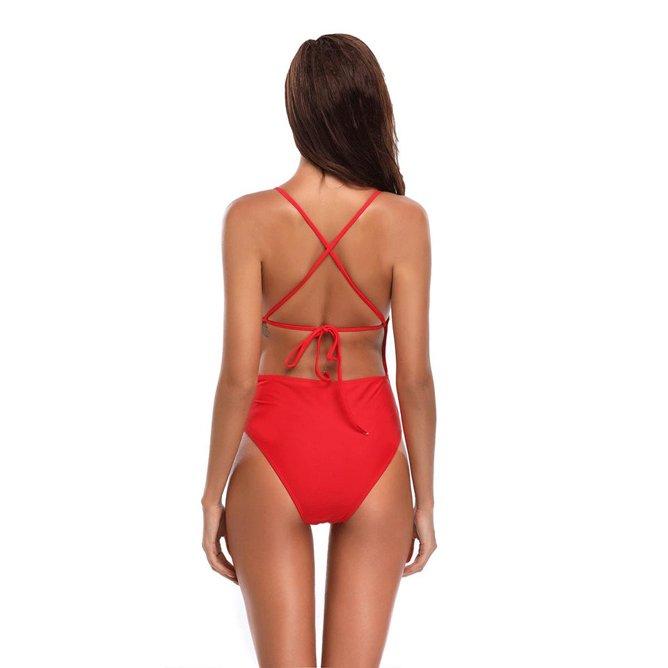 Women One Pieces  Push Up Swimming Bench Red Bathing Suits