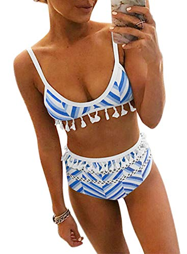 Dokotoo Womens High Waist Two Pieces Bikini Set Striped Tassel Swimsuit