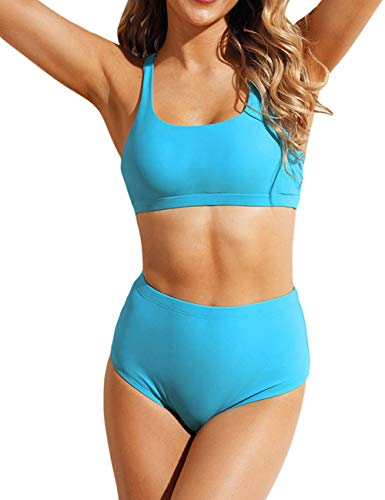 Honlyps Two Piece High Waisted Bathing Suit Striped Bikini Set Swimsuits for Women High Cut Sports Suits