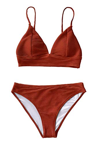 CUPSHE Women's Cosy Bay Lace Up Back Adjustable Two Piece Bikini Sets