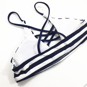 Black & White Striped Low Waist Bikini