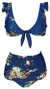 COCOSHIP Women's Retro Floral High Waisted Shirred Bikini Set Tie Front Closure Top Ruffle Swimsuit(FBA)