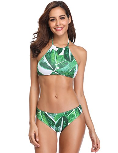 MARINAVIDA Women Halter Two Pieces Swimsuit Floral Print Bikini Set