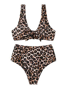 SweatyRocks Women's Sexy Bikini Swimsuit Tie Knot Front Leopard Print Swimwear Set