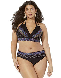 Swimsuits for All Women's Plus Size Foil Loop Strap Bikini Set