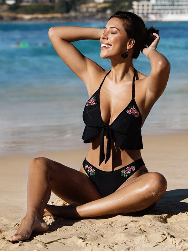 Halterneck Flower Embroidered Bikini Swimwear