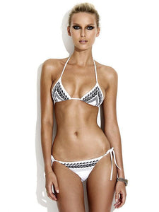White Halterneck Two-Pieces Bikini Swimwear