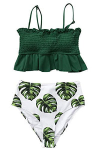 CUPSHE Women's Smocked Green and Monstera Ruffled High Waisted Bikini