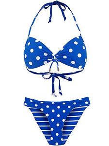 Women's Halter Bikini Set Swimsuit Bathing Suit with Polka Dots Print