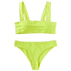 ZAFUL Women's Wide Straps Padded Bandeau Bikini Set