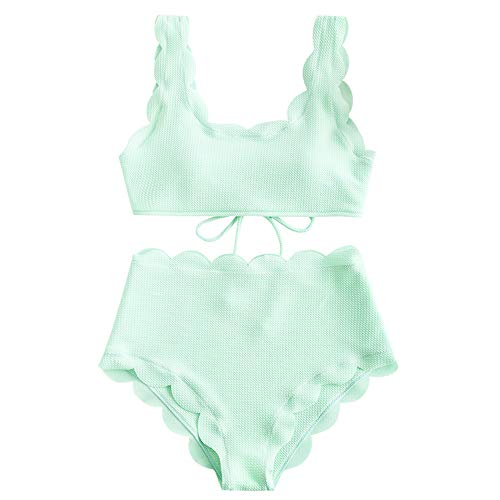 ZAFUL Women's Scalloped Textured Swimwear High Waisted Wide Strap Adjustable Back Lace-up Bikini Set Swimsuit