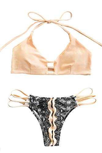 CUPSHE Women's Push Up Halter Bikini Set