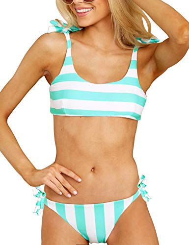 Blooming Jelly Womens Two Piece Swimsuits Tie Knot Padded Push Up Brazilian Thong Cheeky Bikini Set